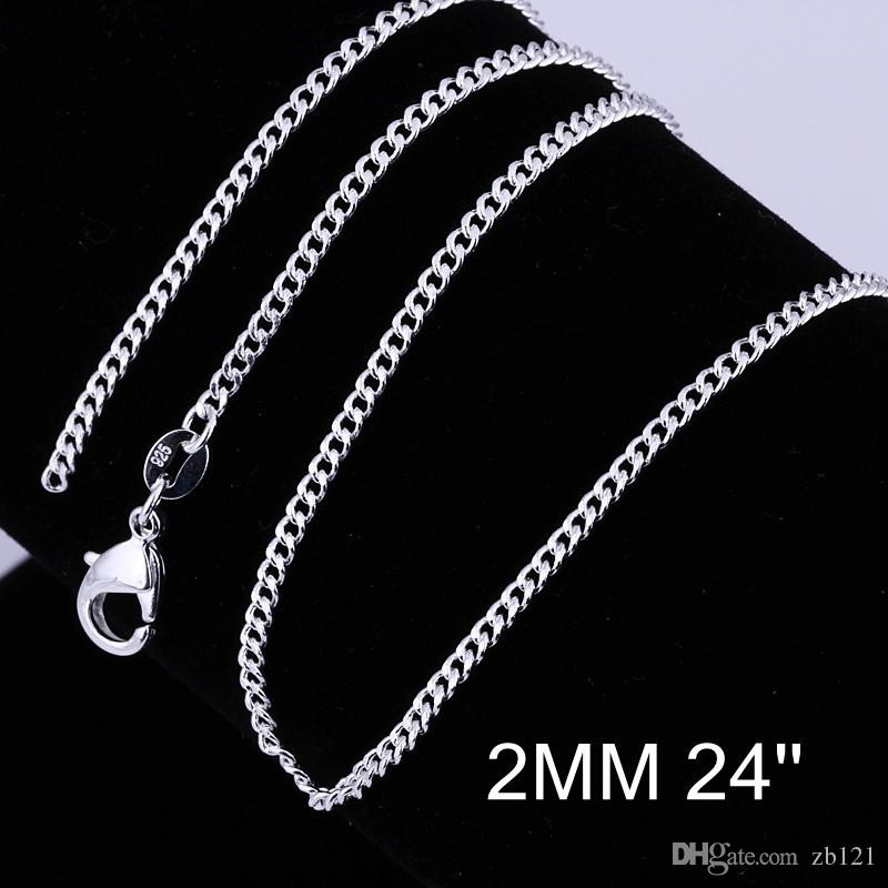 New Wholesale-925 sterling Silver 2mm curb chain 16-24inch women men 925 sterling silver side chain for pendant necklace