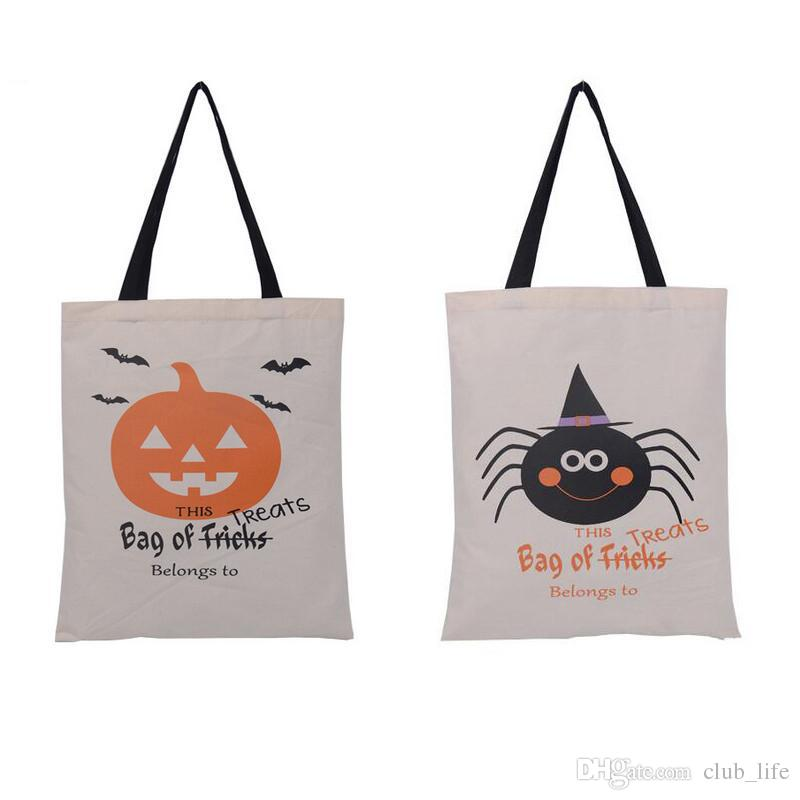 6 types halloween tote bags with black handle pumpkin christmas shopping bags festival gifts bag halloween canvas bag christmas ornaments cheap christmas