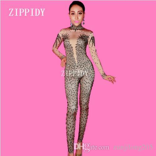 1d939281f8 2019 Sexy Black Rhinestone Jumpsuit Female Singer Dancer Stretch Spandex  Bodysuit One Piece Costume Outfit Party Performance Wear From Zunjilong205