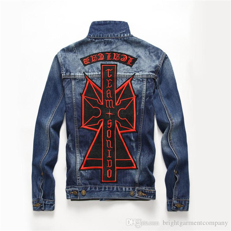 60be814824c1 Embroidery Badge Patchwork Blue Hip Hop Denim Jacket Men Ripped Holes Mens  Pink Jean Jackets New 2018 Garment Washed Mens Denim Coat New Mens Jacket  Sale ...