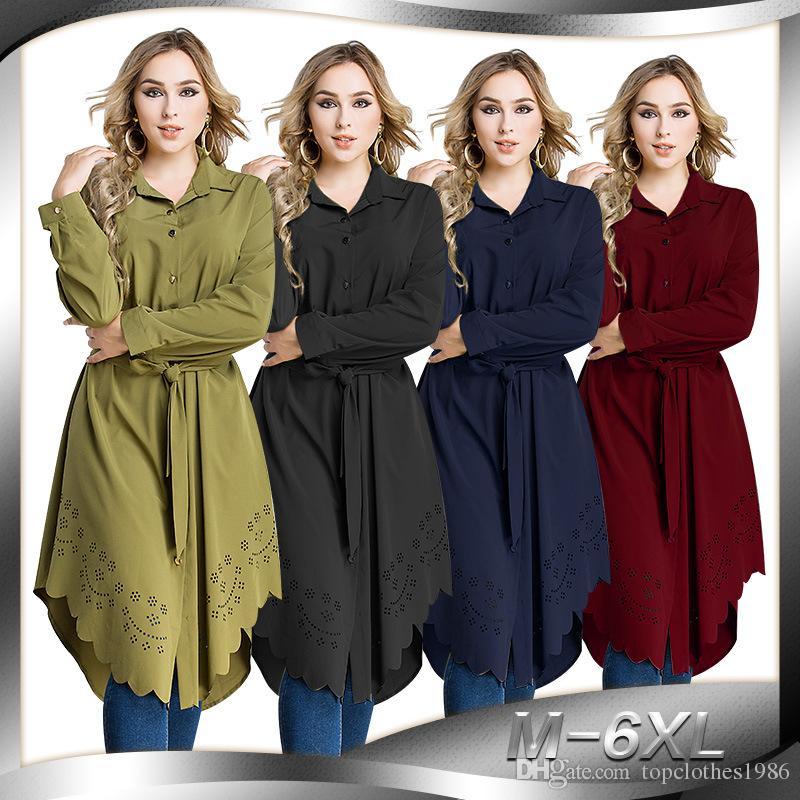 2018New 100% En kaliteli kadın Artı Boyutu Gömlek 6XL-M Islam Müslüman Uzun kollu Uzun gömlek oymak zarif kadın Moda Gömlek Bluz