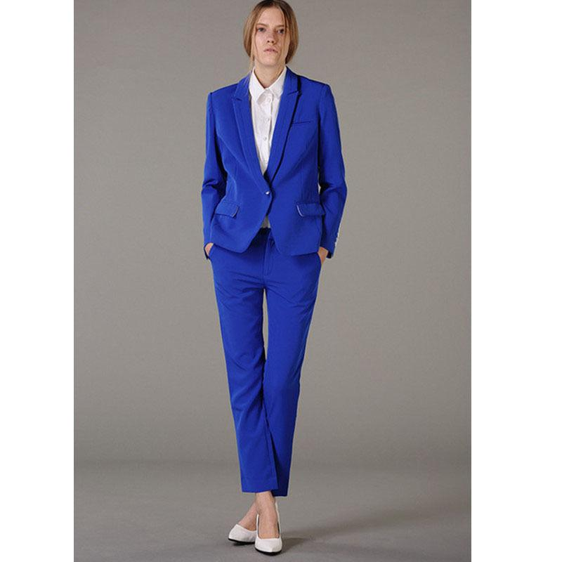 2019 Royal Blue One Button Business Pant Dress Suits For Women