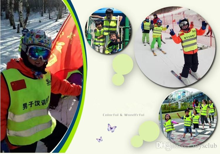 Kinder Hohe Sichtbarkeit Woking Sicherheitsweste Straßenverkehr Arbeits Weste Grün Reflektierende Sicherheitsbekleidung Für Kinder Sicherheit Weste Jacke