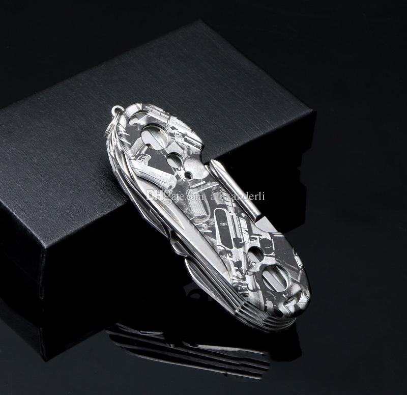 Cuchillo suizo de alta calidad de acero inoxidable cuchillo de supervivencia multifunción exterior táctico de rescate herramientas del ejército plegables caza cuchillos de bolsillo
