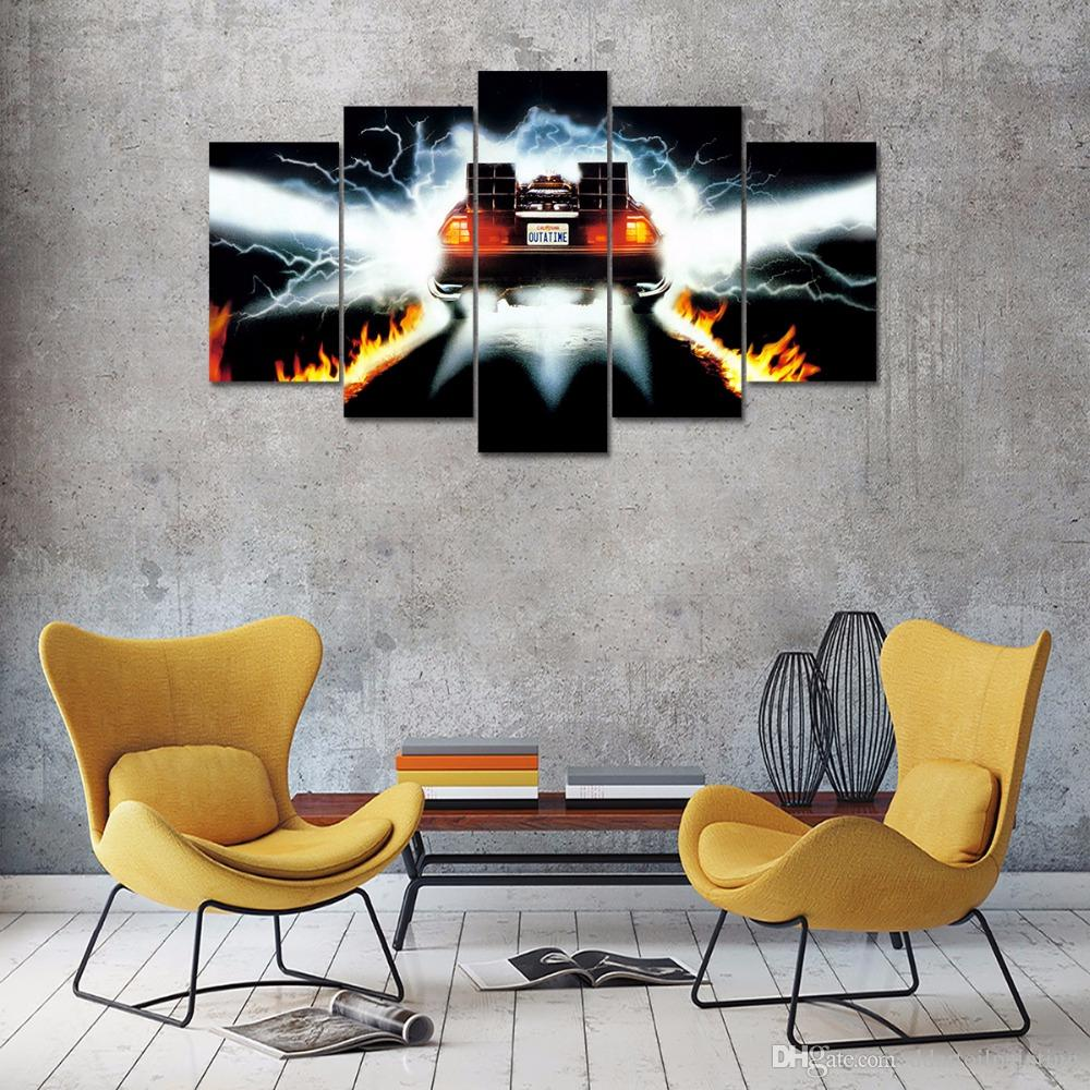 Back to The Future Movie Poster Home Decoration Large 5Panels Giclee Canvas Prints Painting No Frame