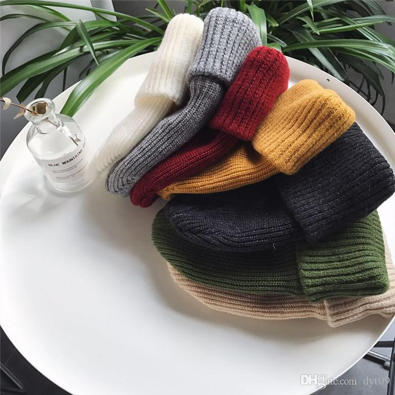 d6f4881178d Joker Thick Warm Knitted Hat Female Winter Solid Color Cap Head Tide Male Wool  Hat Wholesale Beanie Boo Trucker Hats From Dyt09