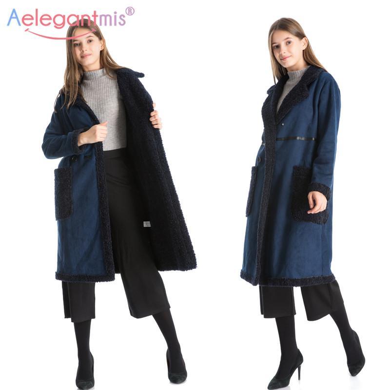 083521ead8c00 Acquista Aelegantmis Autunno Inverno Donna Blu Navy Camoscio Tessuto  Spessore Cappotto Caldo Moda Donna Reversibile Cappotto Lungo Lungo  Cappotto Di Lana A ...