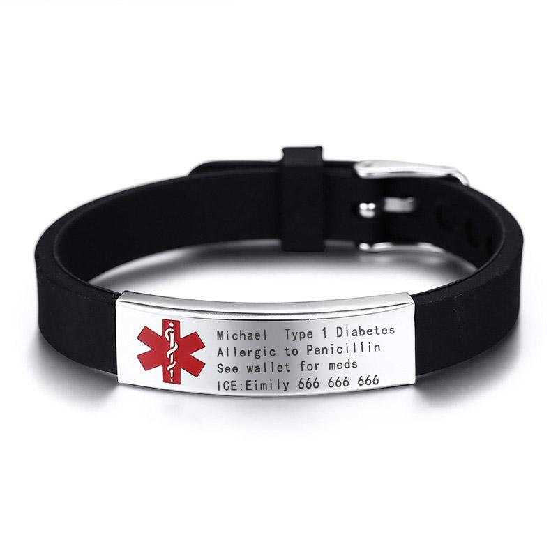a825532f55f8 Compre Pulsera De Identificación De Alerta Médica Gratuita DIABETES BLOOD  ALLERGY ALZHEIMER S A  37.35 Del Luney