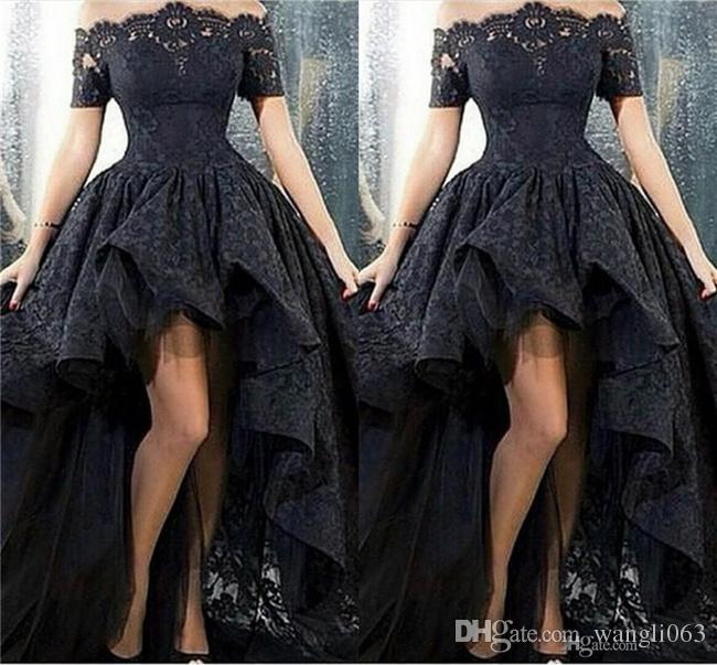 Vestidos de fiesta de encaje de alta de encaje negro bajo fuera del hombro diseño árabe acanalado formal vestido de noche corto delantero vestido de fiesta largo trasero