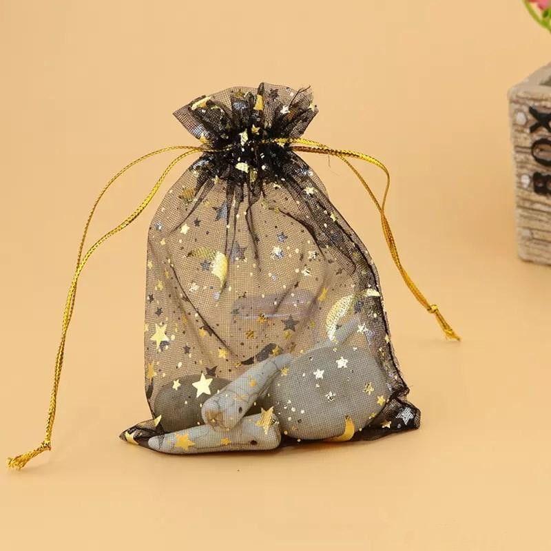 Heiße Organza-bunte Beutel des Verkaufs-/ Mond und Stern-Zugschnur-Beutel-populäre Geschenk-Beutel-Beutel Günstige 7 * 9cm Schmuck-Beutel