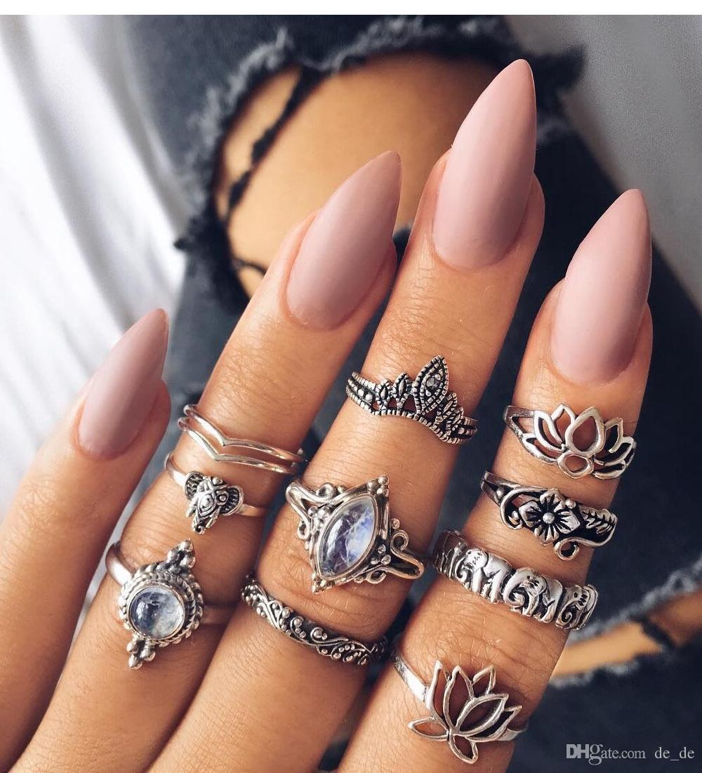 2018 Whole Salewlp Lotus Flower Elephant Midi Rings Set Vintage