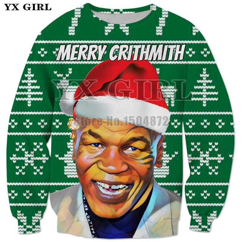 Frohe Weihnachten Männer Bilder.Yx Mädchen Neue Geschenk Kleidung Frohe Weihnachten Tyson 3d Gedruckt Herren Sweatshirt Männer Pullover Lustige Streetwear Polyester Outfits Tops