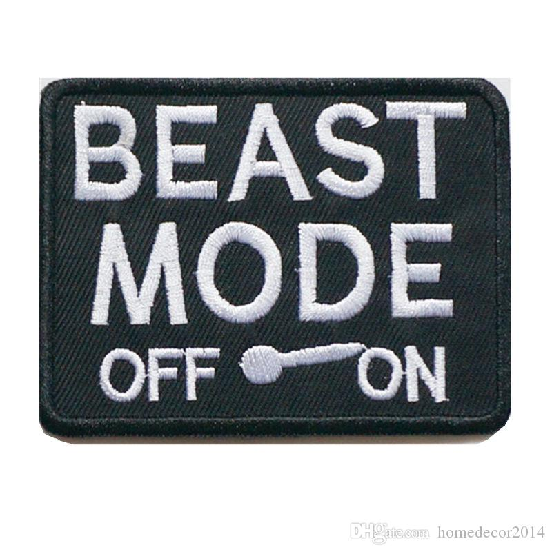 2018 embroidery letter patch beast mode off on sew iron on embroidered patches badges for bag jeans hat t shirt diy appliques craft decoration from
