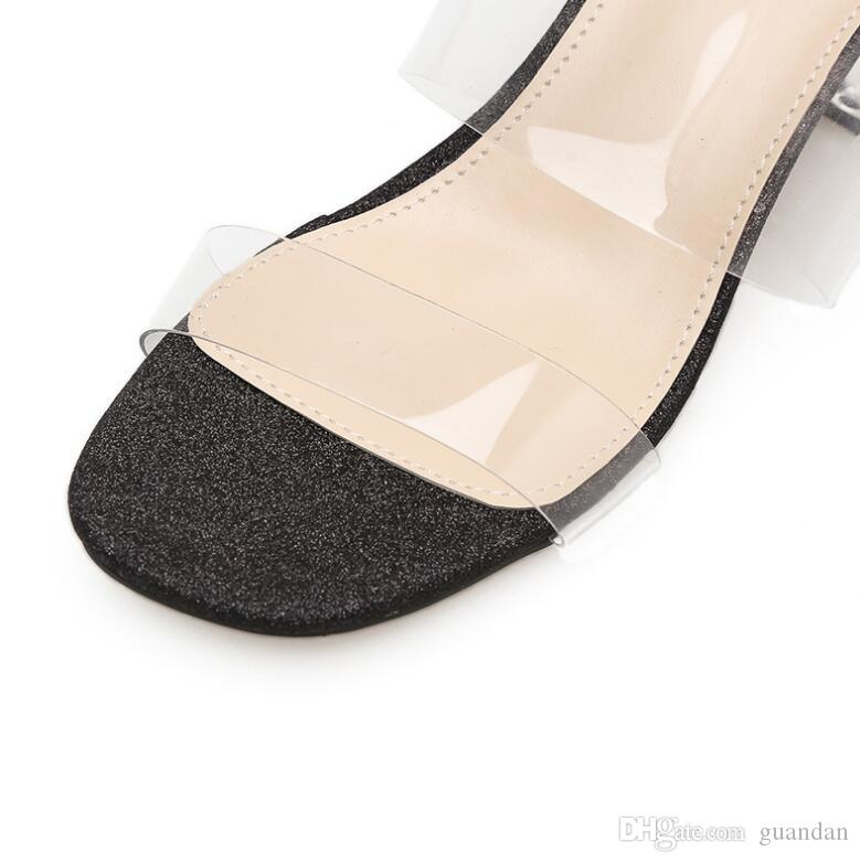 2018 새로운 플라스틱 여성 샌들 두꺼운 뒤꿈치 크리스탈 샌들 플립 여성 여름 파티 신발 오픈 토 1NX17 여성용