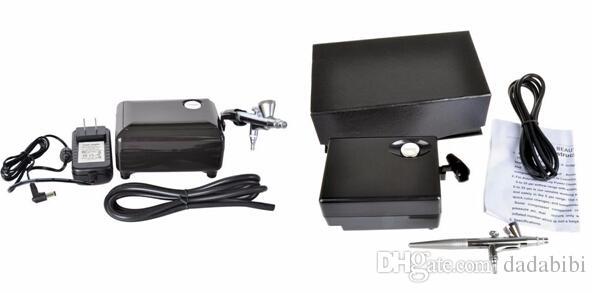 NOVA CHEGADA Valor Airbrush Set Kit Caneta de Pintura Corporal Pistola de Pulverização de Maquiagem para a Tinta Prego com 5 * Escova de Limpeza 1 * Compressor de Ar 1 * Cavalo 2 * Estêncil