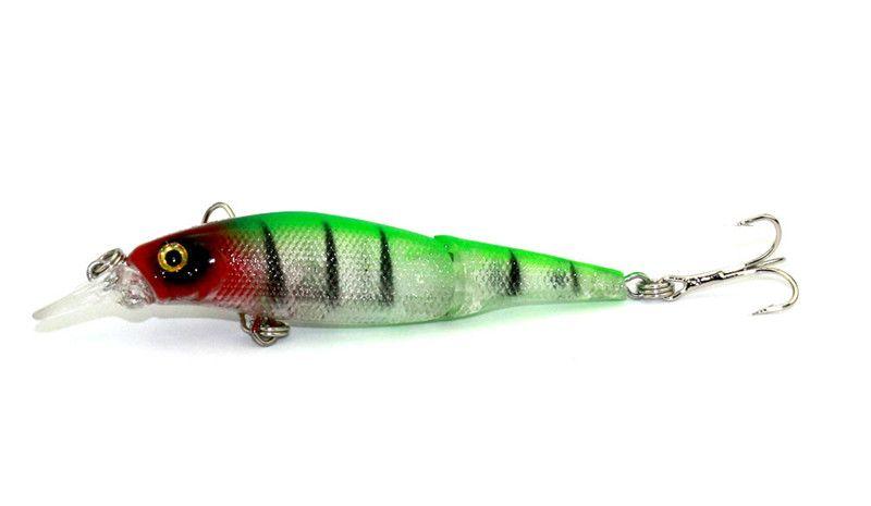 Señuelo de la pesca de Minnow de la natación poco profunda 8.8cm 7.5g 2 segmentos wobblers baitfish artificial cebo