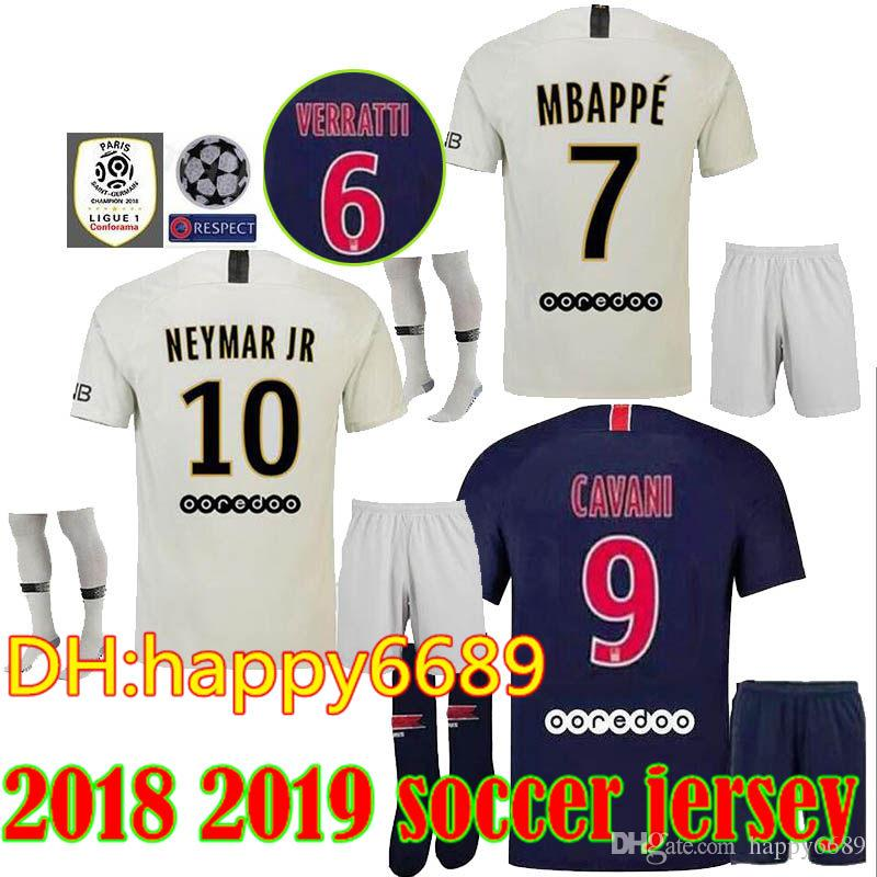 c3fad25bd 2018 18 19 Men Kits + Socks Psg Soccer Jersey Mbappe Verratti Matuidi  Cavani Jr Di Maria Zlatan Maillot De Foot Aduits Camisa Soccer Jerseys From  Happy6689