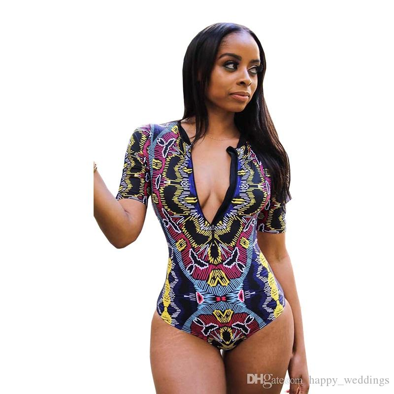 2018 Sexy Long Sleeve One Piece Swimsuit Women Retro Print Floral Solid Color Swimwear Bathing Suit Surfing Swim Suits Monokini A Wide Selection Of Colours And Designs Sports & Entertainment