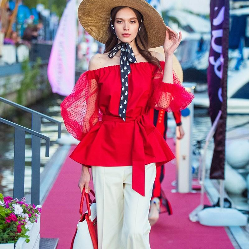 e5b3566825dc6 2019 Summer Fashion Women Sexy Off Shoulder Blouses Solid Lace Floral Puff  Sleeve Shirt Red Perspective Sleeve Blouse From Jingju