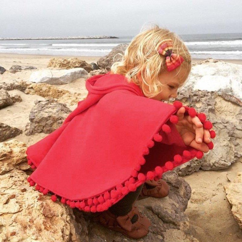 Baby Kids Toddler Red Warm Hooded Cape Cloak Poncho Coat Hoodie Jacket Outwear