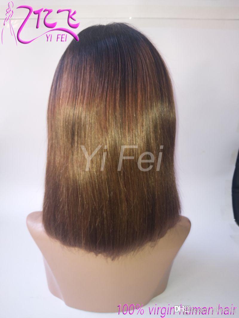 Perruque de cheveux humains en dentelle vierge Bob Perruques Ombre Deux tons T1B / 30 Droite Perruque de cheveux vierge brésilienne