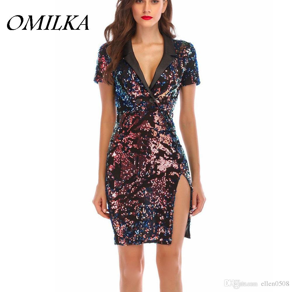 OMILKA 2018 Summer Women Short Sleeve V Neck Split Sequin Dress Sexy Black  Glitter Shiny Club Party Bodycon Bandage Mini Dress Teens Party Dresses  Juniors ... c54bcd064d28