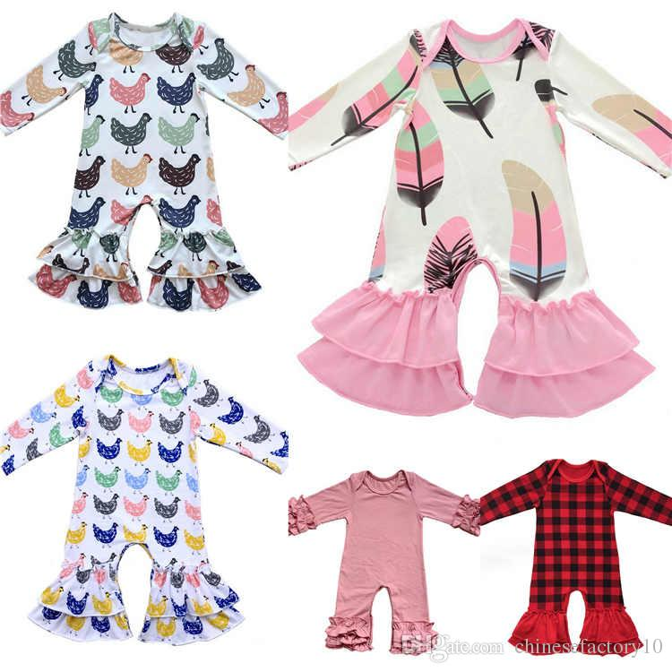 7ad8741bbf Christmas Baby Girls Pajamas Kids One Piece Rompers Floral Jumpsuit Baby  Romper Long Sleeve Flower Printed Jumpsuits Home Dress Kids Pajamas Kids  Christmas ...