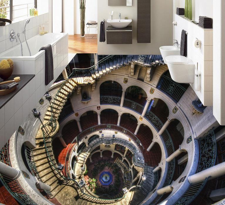 Fabelhaft Großhandel Benutzerdefinierte 3D Boden Tapete Kreative Badezimmer #GT_96