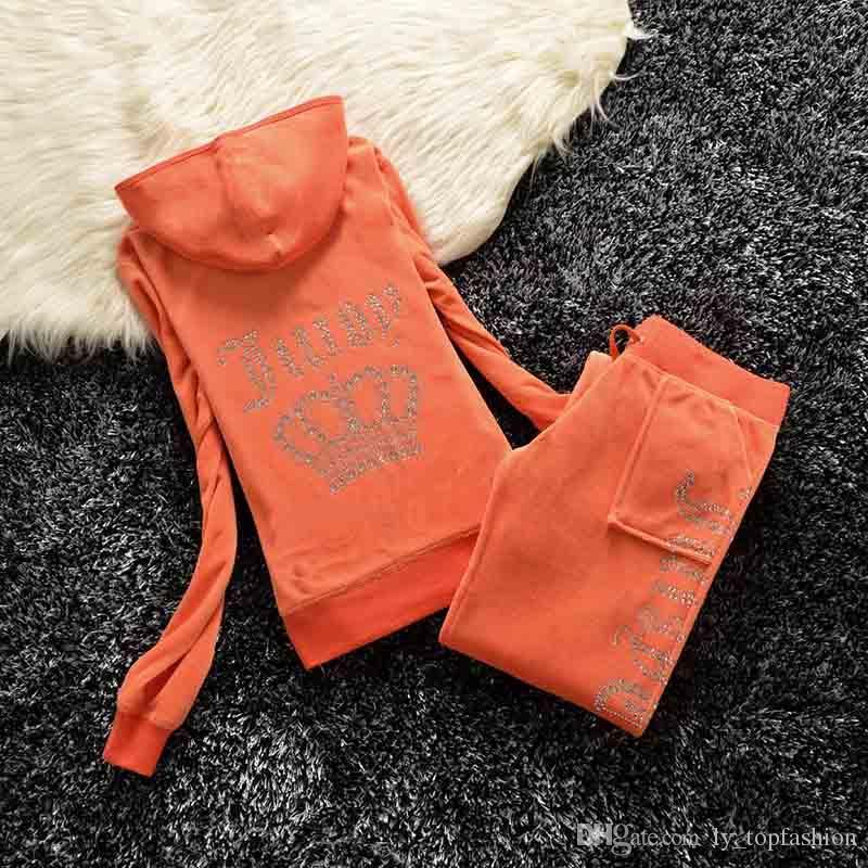 Весна / осень 2020 Женские Марка бархатной ткани костюмы Велюровый костюм Женщины Спортивный костюм Толстовки и брюки жира сестра спортивной