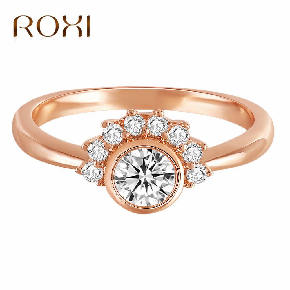 bcef5e734a50 Compre ROXI 2018 Best Selling Zircon Flower Anillo De Oro Rosa Anillos De  Boda Para Mujeres Cubic Zirconia Anillo De Compromiso Anillos Mujer Anéis A   32.86 ...