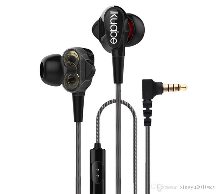 In-ear Double moving-coil Style Sport Music Wired Stereo Earphones Headset Noise reduction Headphones With Mic for Cell Phone MP3 Computer