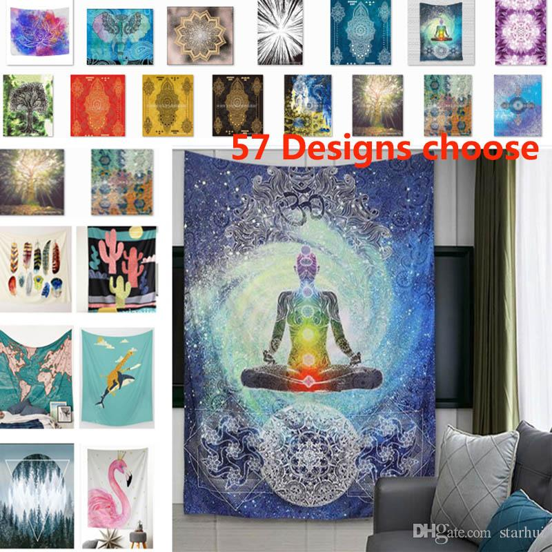 150130cm Bohemian Tapestries Chakra Tapestry Wall Hanging