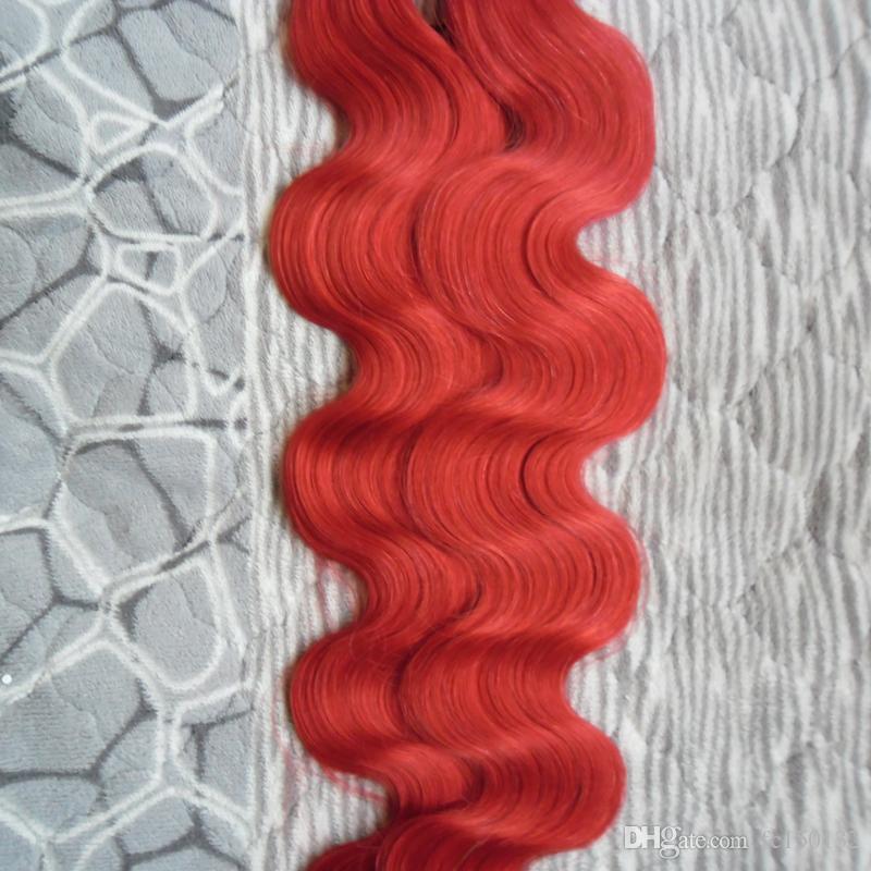 الأحمر بو الجلد لحمة الشريط الشعر ملحقات الجسم موجة 12