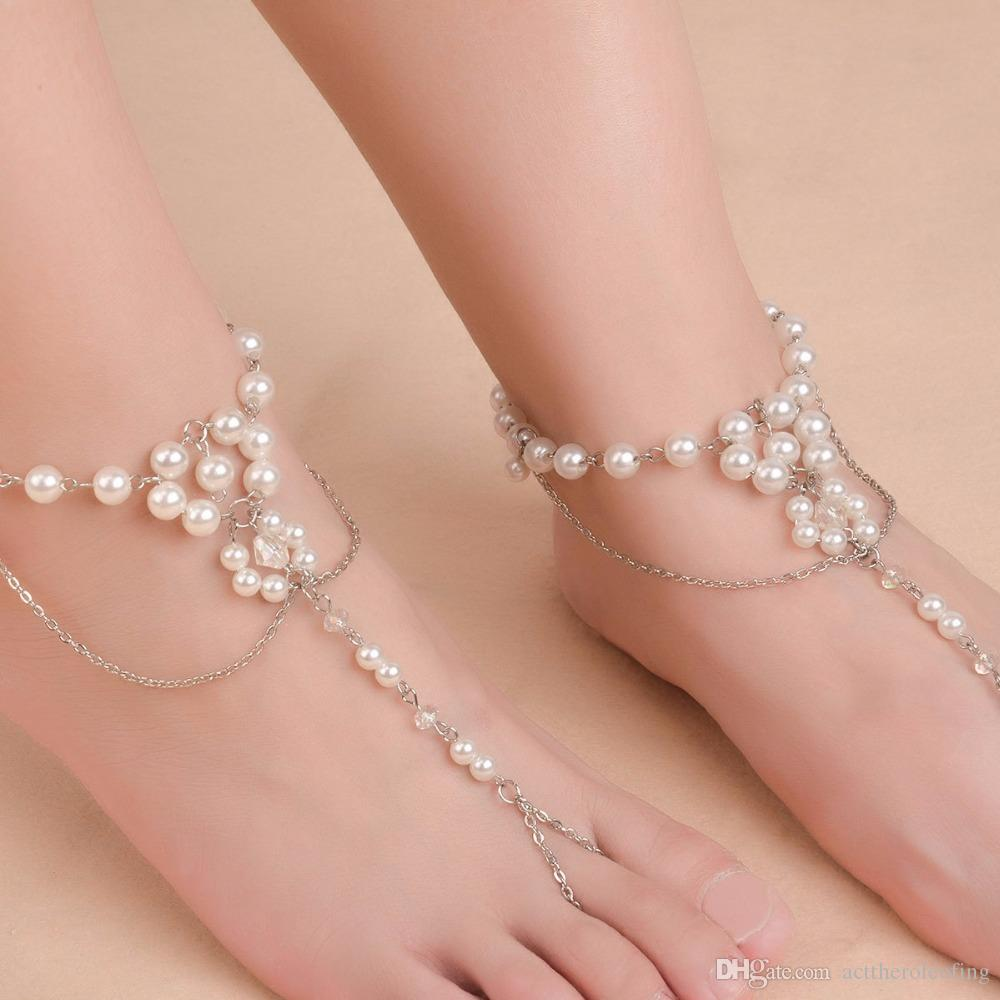 f2220219214 2019 Fashion Pearl Anklet Women Ankle Bracelet Beach Jewelry Imitation  Pearl Barefoot Sandal Anklet Chain Foot Jewelry From Acttheroleofing
