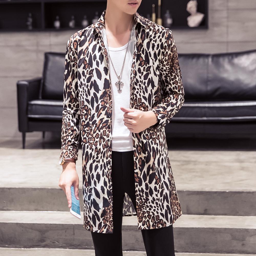 Compre Moda 2018 Camisa Casual Para Hombre Nuevo Slim Fit Camisas Largas  Hombres Leopardo Night Club Vestido De Fiesta Ropa De Hombre 2XL M Oferta A   36.19 ... a324c2b3d79