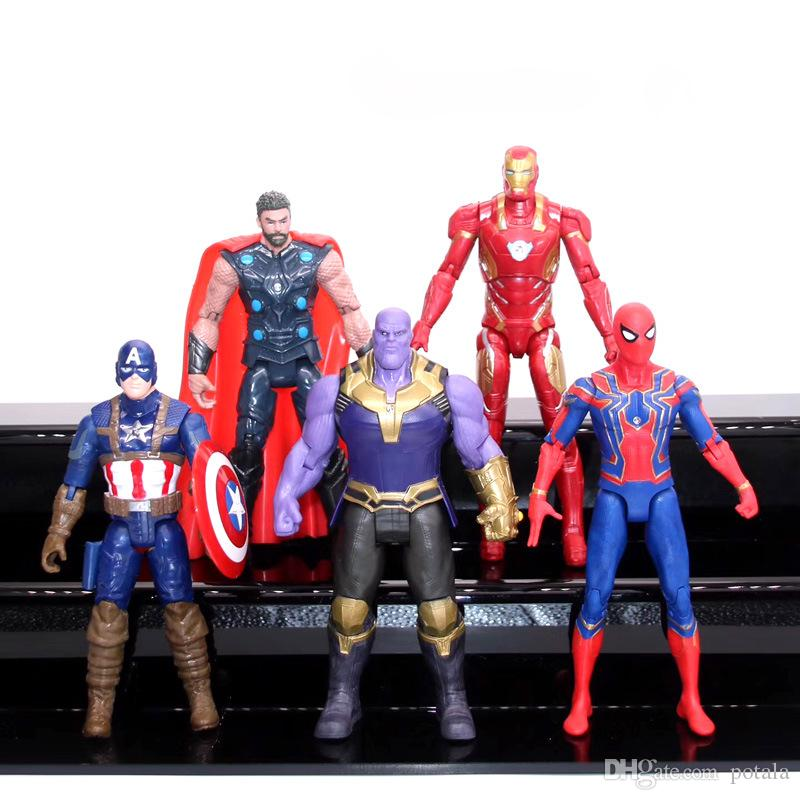 5pcs/lot Avengers Infinity War 2018 Marvel Action Figures Heroes Spiderman  Ironman Superman Thanos captain america figurines figuras de