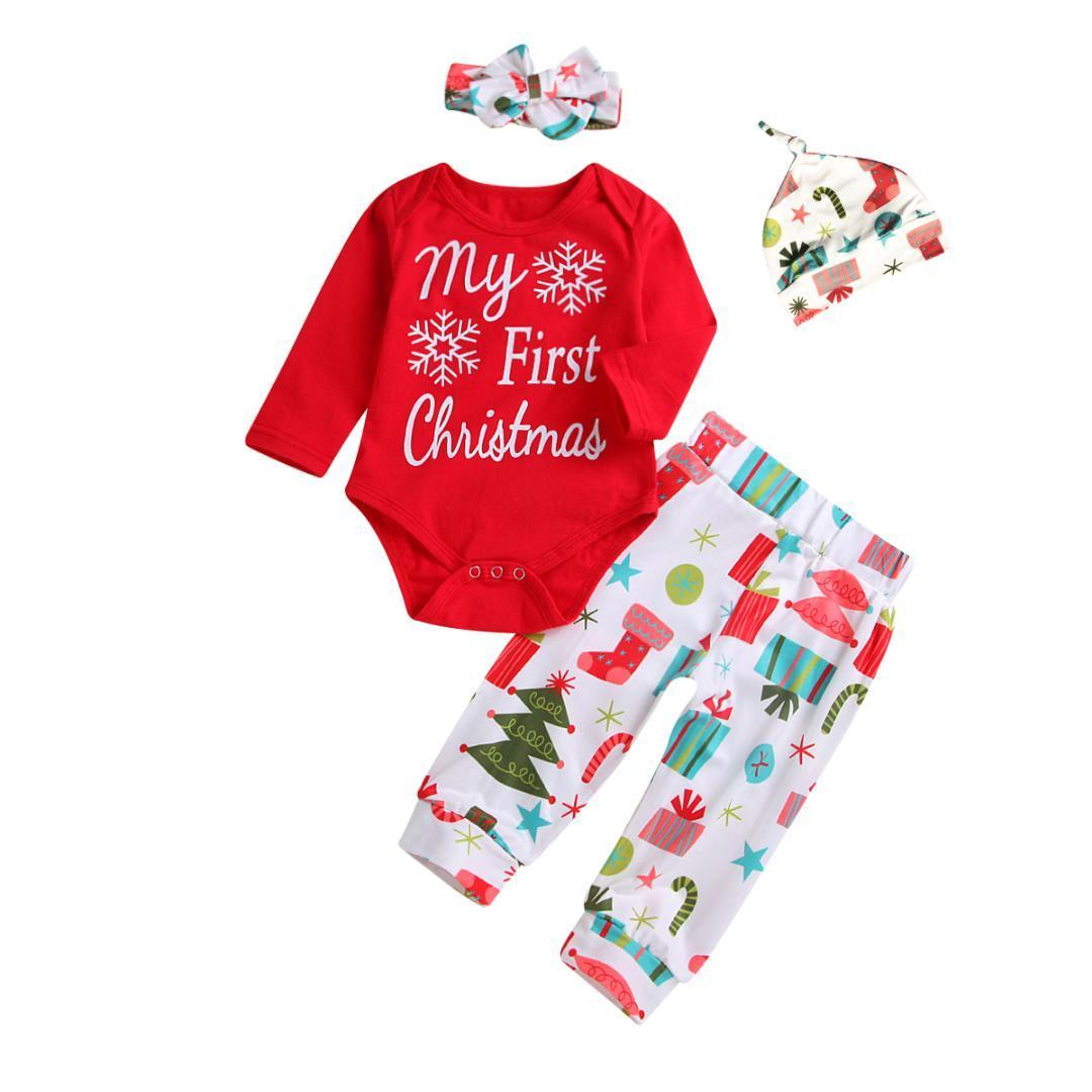 pretty nice b0d8e 1dff4 pudcoco mein erstes weihnachten 4 stück set neugeborenes baby girl romper  pants body kleidung set xmas kleidung baby girl boy