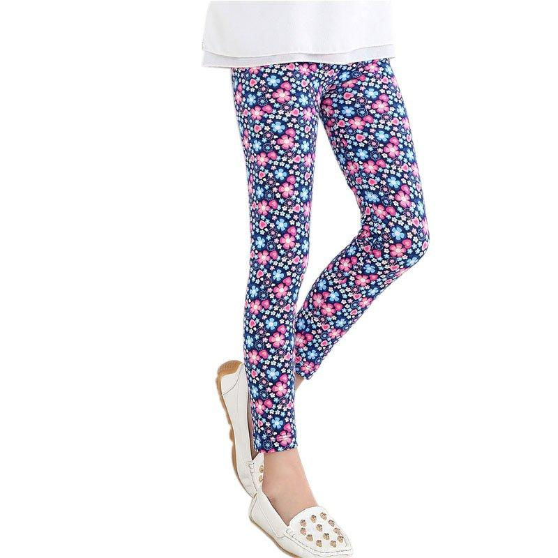 Shenzhen Bebek Çocuk Kız Tayt Pantolon Çiçek Çiçek Baskılı Elastik Uzun Pantolon 2-14Y Yeni