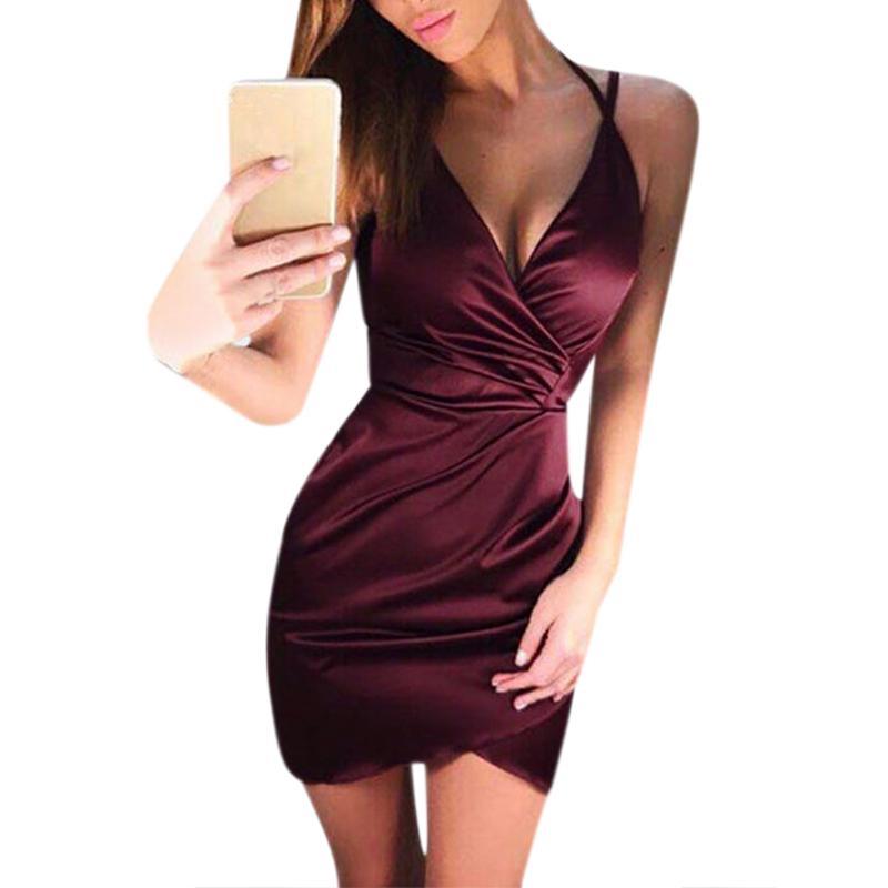 Sexy V Neck Silk Bodycon Dresses Womens Nightclub Cocktail Party Bodysuits  Slim Bandage Dresses Tunic Vestidos WS5704U UK 2019 From Wochanmei 33009220bf95