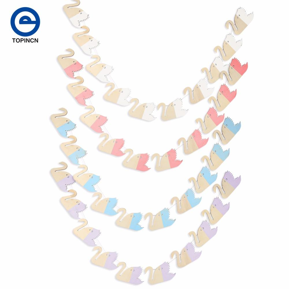 Swan Cloud Feather Garland Kids Birthday Banners Party Decorations Baby Showers Children Room Crafts Hanging Wedding Decoration