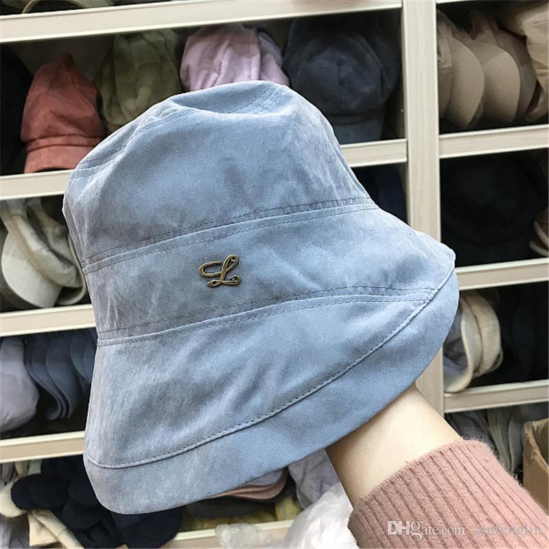 Хлопок сплошной цвет женщин шляпа ведро для рыбалки пляж хлопка летние шляпы от солнца для женщин дизайн моды складной до краев с большим бантом