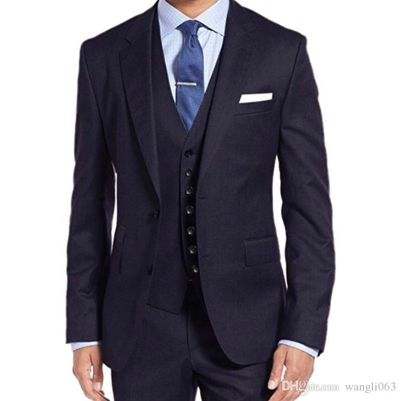 Navy Blue Business Party Men Suits Notched Lapel Two Button Three Piece Wedding Groom Tuxedos 2018 Jacket Pants Vest