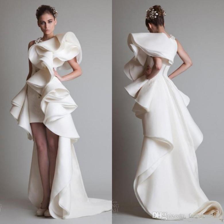 36ff95699cc8 Custom Made Krikor Jabotian High Low Evening Dresses Ruffles Skirt Zipper  Back Court Train 2019 Women Prom Gowns Robe De Soiree Evening Dress Sewing  ...