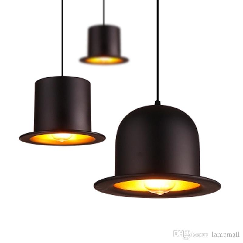 acheter moderne en aluminium noir chapeau forme salon pendentif