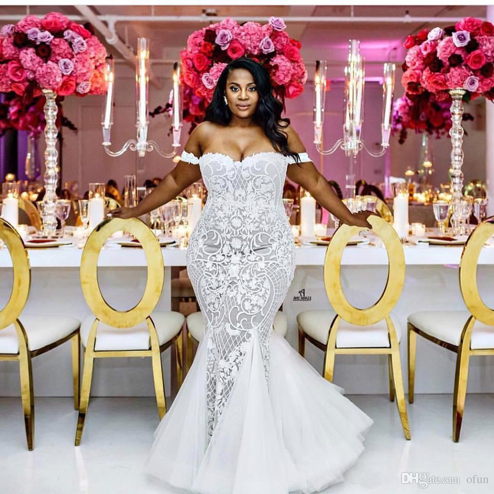 Modest Sexy Sereia Vestidos De Casamento Lace Applique Trumpet Vestidos de Noiva Fora Do Ombro Praia Plus Size Vestido De Noiva