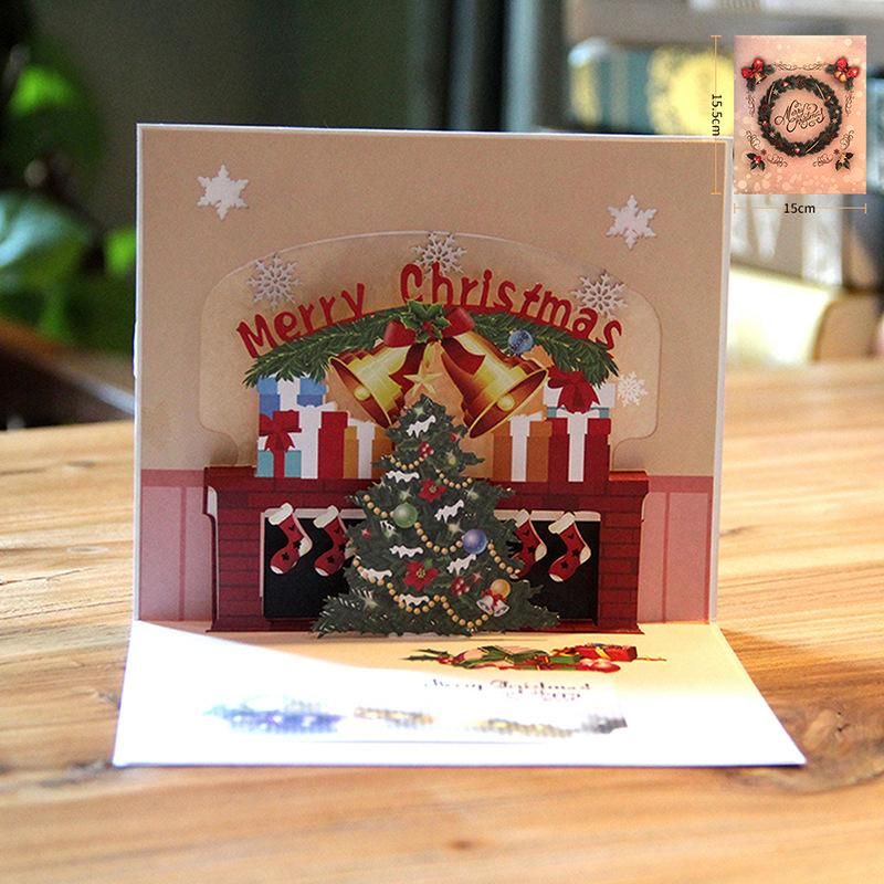 Colorful Printed Christmas Greeting Gift Cards 3D Pop Up Card Laser ...