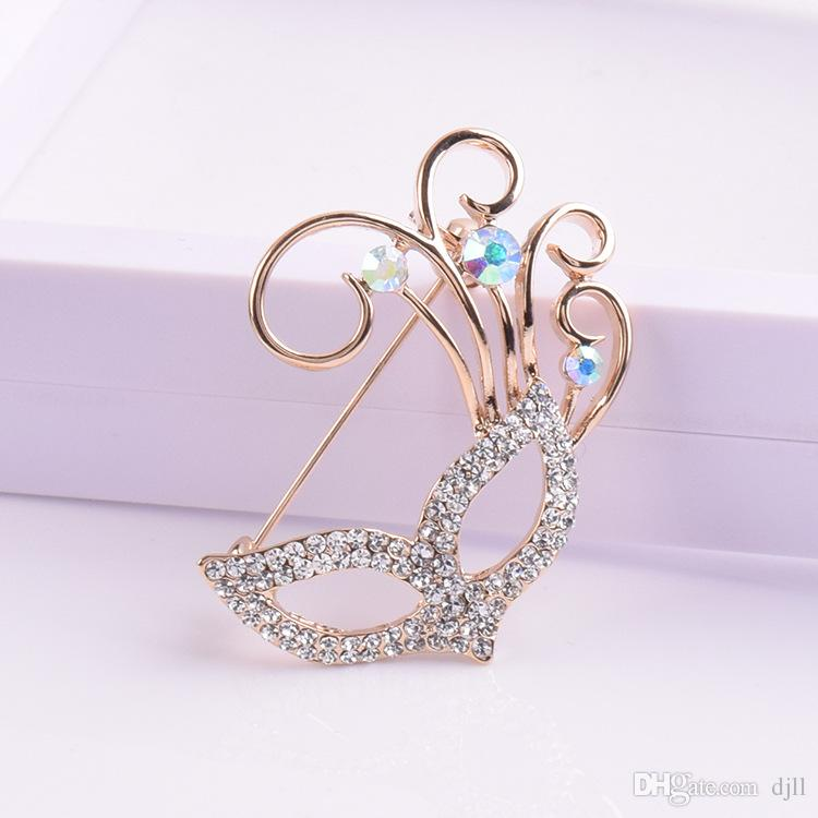 Boutique Creative Crystal Beauty Mask Brooch Korean Luxury Diamond Pin Jewelry Corsage Wholesale Elegant Brooches Inlaid Zircon Corsage
