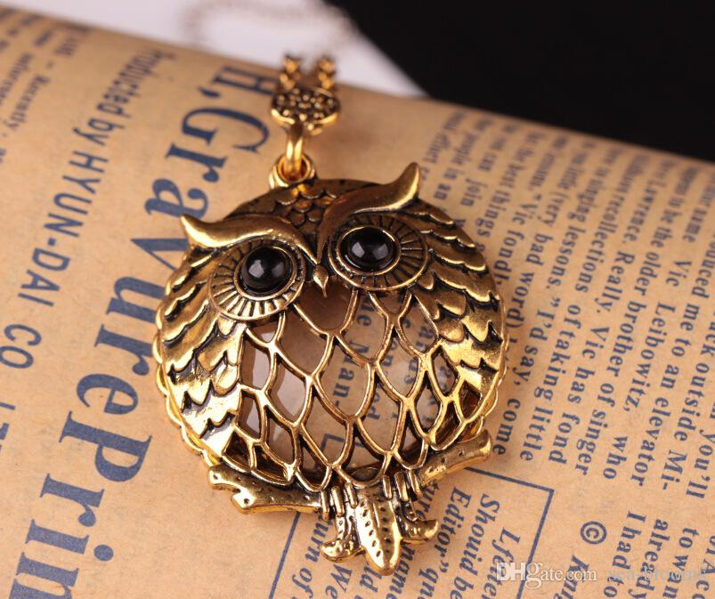 Fashion Retro High Quality Gold Colors Magnifier Magnifying Glass Sliding Top Magnet Sweater Chain Animal Pendant Owl Glass Necklace D548S