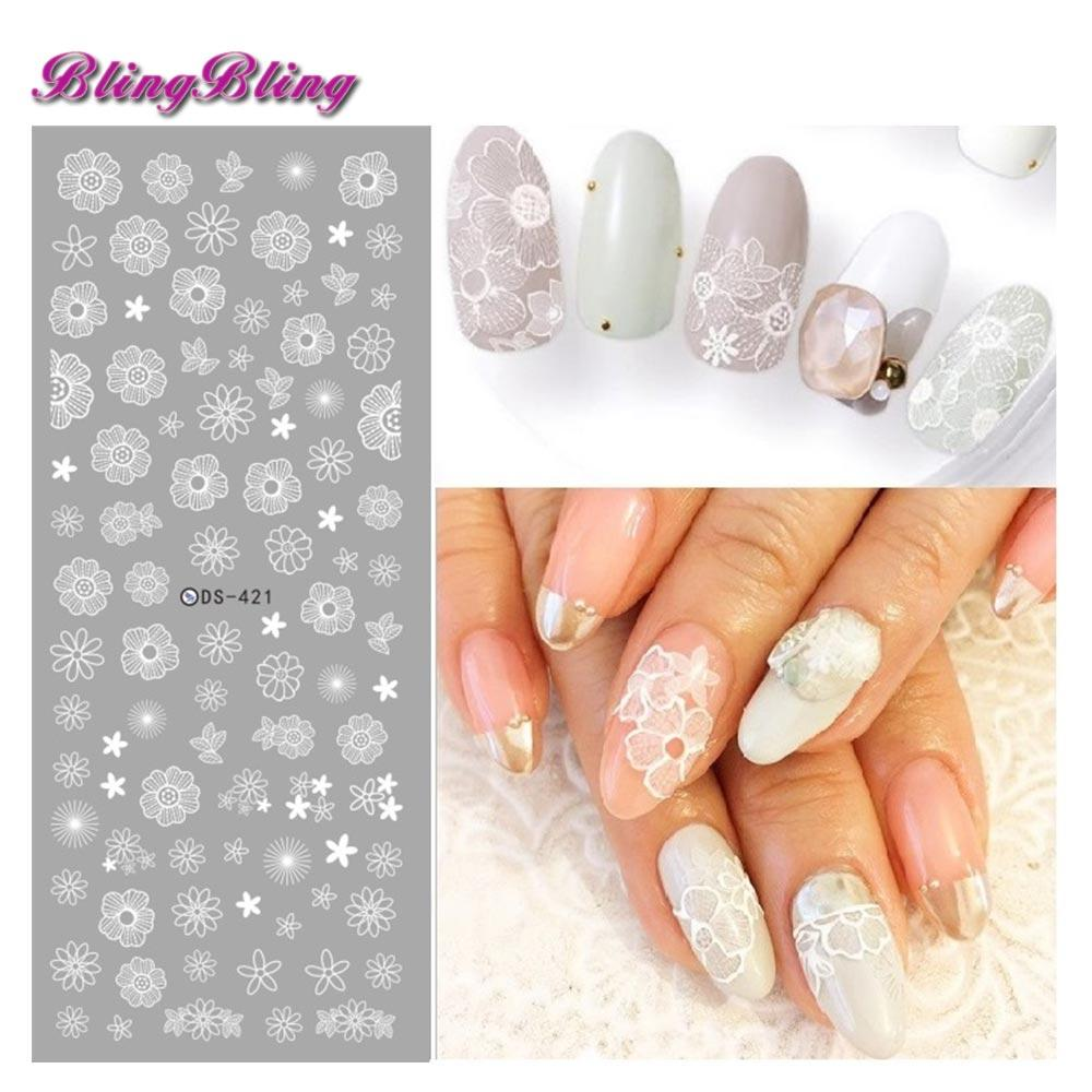 2 Sheets Wedding Nail Sticker White Flower Nail Water Decals New Art