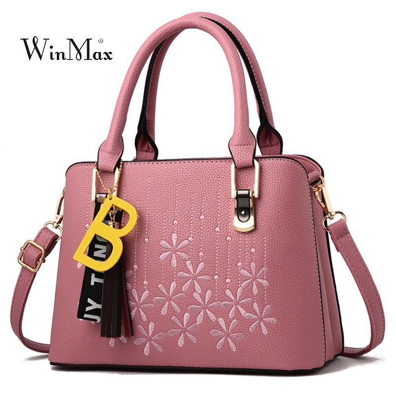Embroidery Ladies Bag Women Leather Handbags Tassel Shoulder Bags Female  Hand Bag Messenger Bags For Women 2018 Bolsas Feminina Ladies Purse Leather  ... f02693d6aae81
